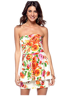 Betsey Johnson Strapless Floral Peplum Mini Dress
