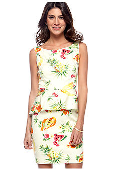 Betsey Johnson Sleeveless Printed Peplum Sheath Dress