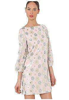 Three-Quarter Sleeved Floral Sequin Dress
