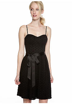 Isaac Mizrahi New York Spaghetti Strap Eyelet Dress