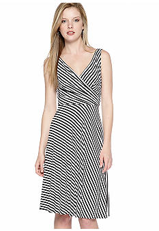 Isaac Mizrahi New York Sleeveless Stripe Fit and Flare Dress