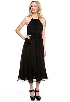 Isaac Mizrahi New York Halter Neck Chiffon T-Length Dress