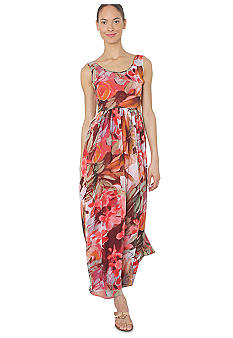 Isaac Mizrahi New York Sleeveless Printed Chiffon Maxi Dress