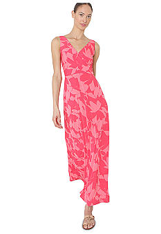 Isaac Mizrahi New York Sleeveless Floral Surplice Maxi Dress