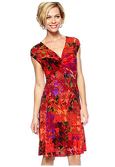 Tiana B Cap-Sleeved Printed Dress