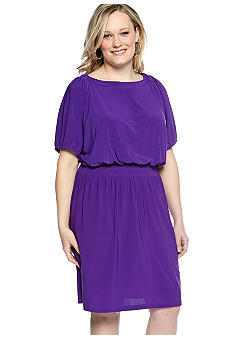 Tiana B Plus Size Short-Sleeved Peasant Dress