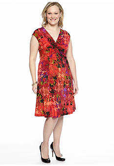 Tiana B Plus Size Cap-Sleeved Printed Dress