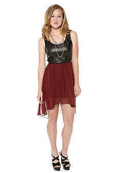Mod Modele Pleather Color Block Dress with Cut Out