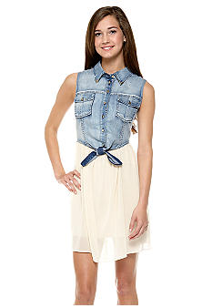 Mod Modele Chiffon Dress with Jean Vest Top