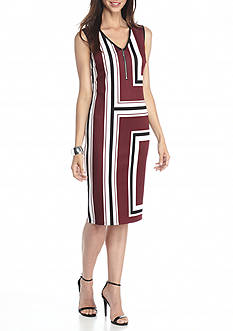 Sami & Jo Zip Front Stripe Sheath Dress