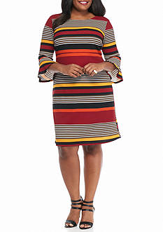 Sami & Jo Plus Size Striped Empire-waist Dress