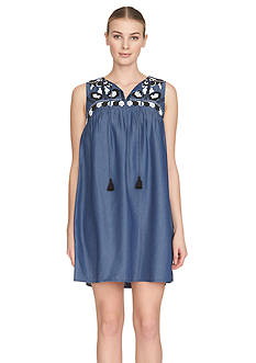 Cynthia Steffe Embroidered Denim Shift Dress