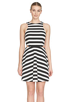 CeCe by Cynthia Steffe Stripe Cutout Ponte Dress