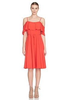 Cynthia Steffe Cold-Shoulder Ruffle Dress