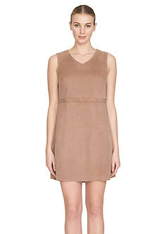 Cynthia Steffe V-Neck Faux Suede A-Line Dress