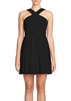 CeCe Crisscross Front Fit and Flare Dress