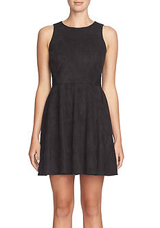 CeCe Faux Suede Fit and Flare Dress