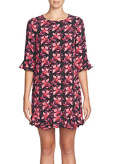 CeCe Floral Printed Ruffle Shift Dress