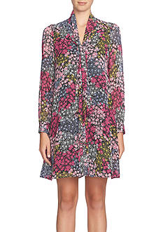 CeCe Tie-Neck Floral Shift Dress