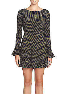 CeCe by Cynthia Steffe Herringbone Fit and Flare Dress