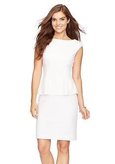 American Living™ Peplum Geometric-Jacquard Dress