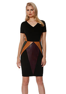 NUE by Shani™ Color Block Leather Dress