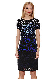 NUE by Shani™ Colorblock Laser Cut Sheath Dress