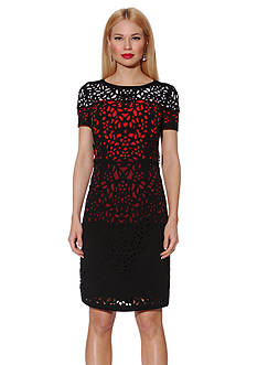 NUE by Shani™ Colorblock Laser Cut Sheath Dress