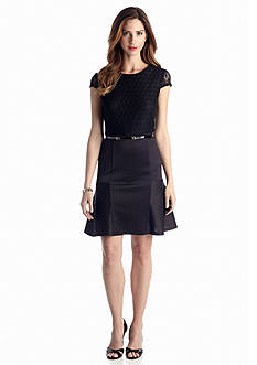 Cap-Sleeve Belted Fit and Flare Dress