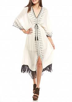 Taylor & Sage Embroidered Fringe Dress