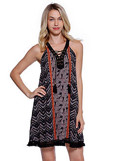 Taylor & Sage Mix Print Lace Up Dress