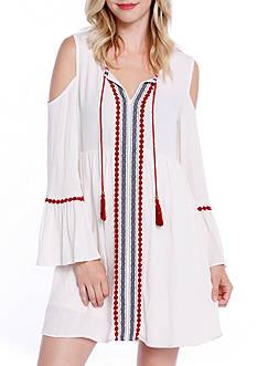 Taylor & Sage Cold Shoulder Embroidered Peasant Dress