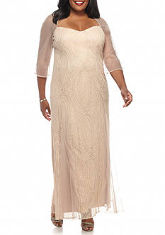 Maya Brooke Plus Size Mesh and Glitter Gown