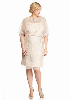 Maya Brooke Plus Size Glitter and Mesh Cocktail Dress