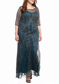 Maya Brooke Plus Size Sheer Beaded Gown