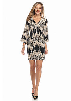 Robbie Bee Printed Bell-Sleeve Shift Dress