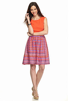 Robbie Bee Printed Fit and Flare Dress