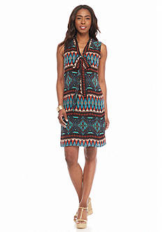 Robbie Bee Printed Shift Dress with Bow Tie Neck