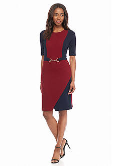 Robbie Bee Textured Knit Colorblock Sheath Dress