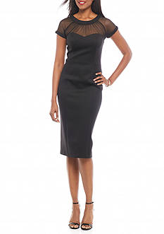 Robbie Bee Mesh Yoke Midi Sheath Dress