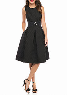 Robbie Bee Jacquard Fit and Flare Dress with Rhinestone Belt