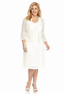Robbie Bee Plus Size Crochet Lace Jacket Dress