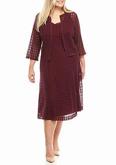 Robbie Bee Plus Size Crochet Lace Jacket Dress