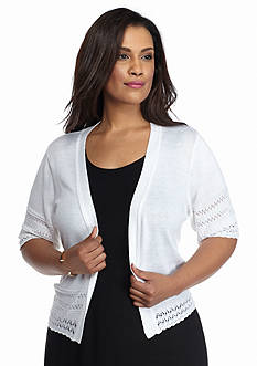 Robbie Bee Plus Size Crochet Trim Shrug