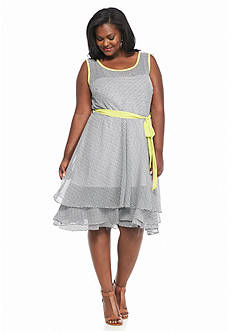 Robbie Bee Plus Size Polka Dot Fit and Flare Dress
