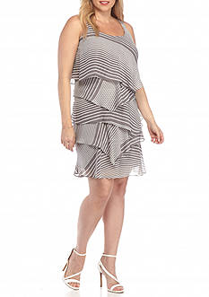 Robbie Bee Plus Size Tiered Stripe Dress