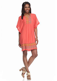 Robbie Bee Plus Size Kimono Sleeve Embroidered Gauze Dress