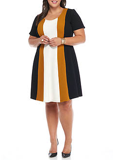 Robbie Bee Plus Size Colorblock Fit and Flare Dress