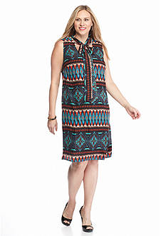 Robbie Bee Plus Size Printed Bow Tie Shift Dress