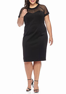 Robbie Bee Plus Size Illusion Neckline Scuba Midi Sheath Dress